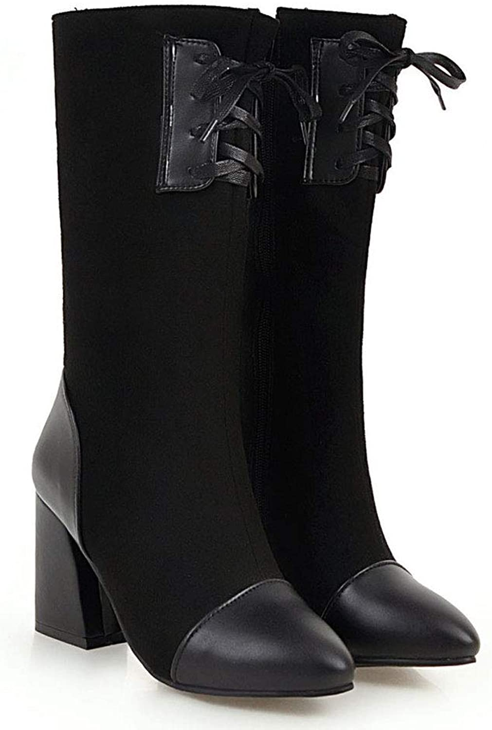 Laceing High Boots, High Heels Thick with Knight Boots Pointed Waterproof Platform Slip Elastic Long Boots Comfortable Warm Women's Martin shoes