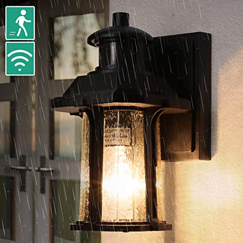Dusk to Dawn Motion Sensor Light, 3 Modes Outdoor Light Fixture with Bulb, Waterproof Seeded Glass Motion Sensor Porch Light, Aluminum Exterior Wall Light for Doorway Garage Balcony, Motion Activated