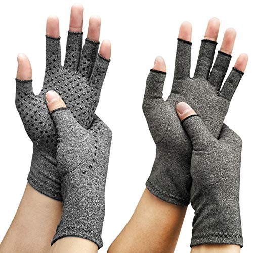 Arthritis Compression Gloves (2-Pairs) | Ease Muscle Tension, Rheumatoid & Osteoarthritis Joint Pain Relief-Carpal Tunnel Support, Fingerless Compression Arthritis Gloves for Men & Women (Grey, M)