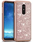 J&D Case Compatible for LG Stylo 4 Case, Glittering ArmorBox Dual Layer Anti-Shock Hybrid Protective Rugged Case for LG Stylo 4 Case, Rose Gold