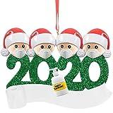 Auimank Personalized 2-6 Family Members Name Christmas Ornament Kit, 2020 Quarantine Survivor Family Customized Christmas Decorating Set DIY Creative Gift
