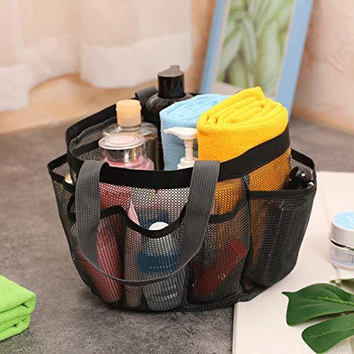 BestSiller Bolsa de ducha portátil de malla, bolsa de cosméticos de viaje, 8 bolsillos, organizador de almacenamiento duradero para dormitorio universitario, baño grande