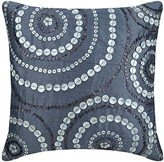 Handmade 55x55 cm (22x22 inch) Throw Cushion Covers, Blue Throw Cushions Cover, Spiral Mother Of Pearls Cushioncases, Art ...