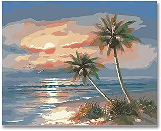 Superlucky Landschaft Seaside Seaside Seaside Eiche Wegerich Digitale Malerei DIY eigene Farbe Füllung Manuelles Bild für Zahlen Landschaftsbild für Zahlen 40x50cm Mit Rahmen B07K4W27P7  Kaufen e26a57