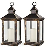 Bright Zeal 2-Pack 14' Outdoor Lanterns With LED Candles And Timer - Distressed Bronze Lanterns Battery Powered LED Decorative Outdoor Lanterns Battery Operated Lamps Waterproof -LED Tabletop Lanterns