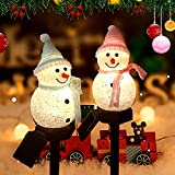 2 Pack Solar Lights Outdoor Yard Decoration Solar Garden Lights Outdoor Christmas Decorations Snowman Stanta Ornament Landscape Pathway Lights for Patio Pathway