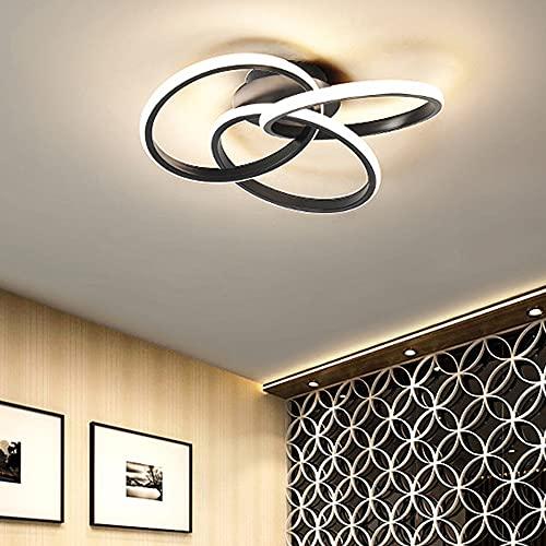 Plafón LED regulable, 3 anillos, personalidad, estilo nórdico, modo romántico de oro negro con mando a distancia, para dormitorio, salón, estudio, oficina, 30 W (negro)