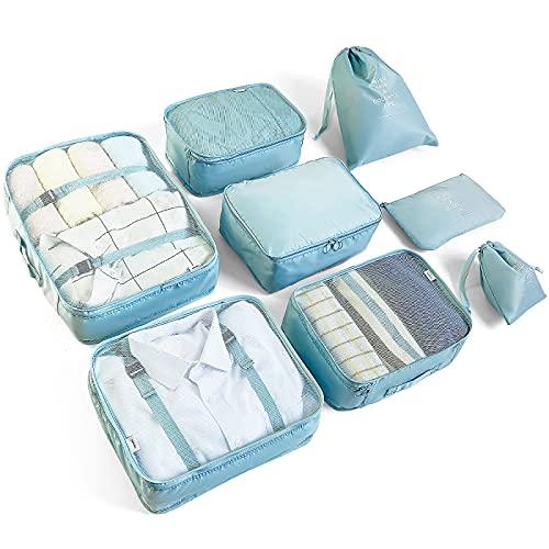 McNory 8pcs Bolsas De Almacenamiento De Viaje a Prueba De Agua Ropa Embalaje Cubo Organizador De Equipaje Bolsa,Embalaje de Viaje Bolsas de Ropa Zapatos,Cosméticos Accesorios(Celeste)