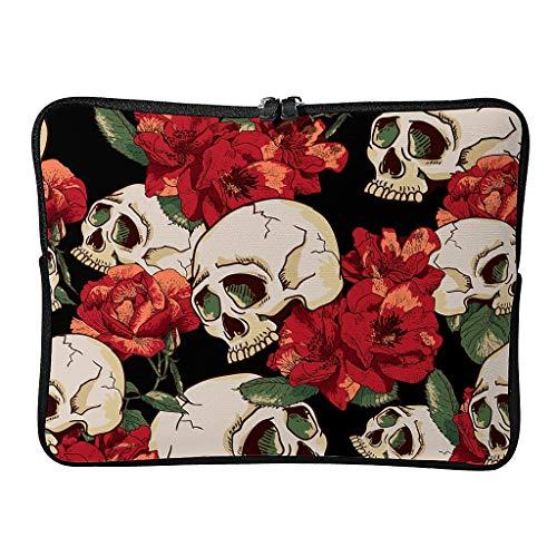 Skull Red Rose - Funda para portátil multifunción con asa compatible con bolsa de mensajero de negocios, diseño especial, con bolsillo para accesorios, color blanco