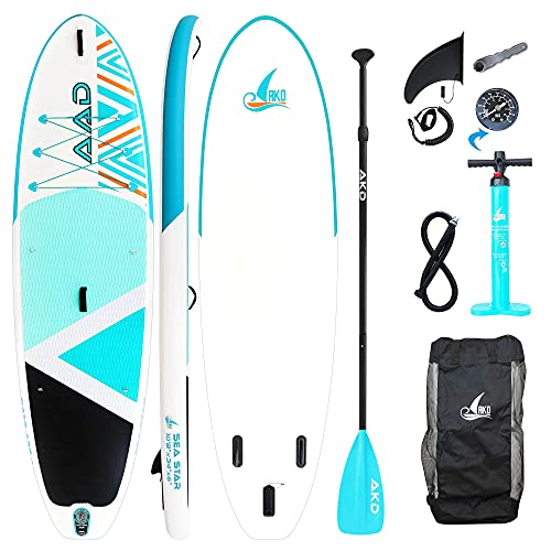 "AKD Seastar Tablas Paddle 10'8"" 325 X86 X15cm Paddle Surf 165KG / 346L, Bomba con ManÓMetro, Pala Deportiva De Aluminio Ajustable, Mochila Y Correa (Cian)"