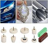 Disco Lucidante per Trapano, Set di 8 pezzi per lucidatura in cotone, per lucidatura auto, colore bianco, Per Auto, Alluminio, Gioielli, Chrome, Ceramica, Acciaio Inossidabile