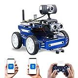 FXQIN Smart Robot Car Kit Compatible con Raspberry Pi Coche Robot Inteligente DIY Kits con Cámara Módulo de Seguimiento de Línea, Sensor Ultrasónico, Programable Robot Juguete