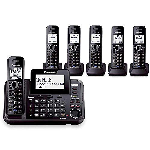 Panasonic KX-TG9542B + Four KX-TGA950B, 6-Handset Cordless System (2 Line) DECT 6.0 1.9Ghz Digital Answering System Expandable Up to 6 Handsets