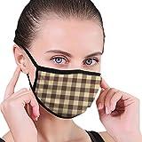 Unisex Anti-Umweltverschmutzung, Staubtuch, atmungsaktiv, waschbar und wiederverwendbar, Büffel-Karo, braun, Kunst-Gesichtsschutz, Bandanas für Jugendliche und Erwachsene