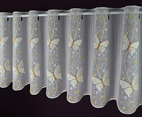 Echte Plauener Spitze Scheibengardine - Anfertigung nach Maß - Schmetterling Bistrogardine Höhe 40 cm - Breite der Gardine durch Stückzahl in 16 cm Schritten wählbar weiß-bunt Made in Germany