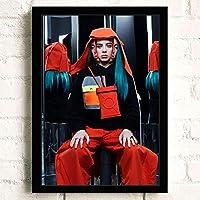 ポスター アートポスター おしゃれ Billie Eilish (25) おしゃれ A3 映画額縁のある絵 木製の枠 モダン 42cm x 30cm フレーム ブラック