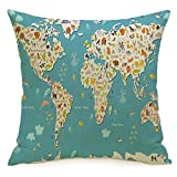 Decorative Linen Square Throw Pillow Cover Planet Australia Island Concept Asia Kid World Map Fun Cheerful South Baby Globe Africa Continents Modern Design Cushion Case for Car Bed 18 x 18 Inch