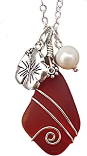 """product image for Handmade in Hawaii, wire wrapped Ruby red sea glass necklace,""""July Birthstone"""", Hibiscus flower charm, Freshwater pearl, (Hawaii Gift Wrapped, Customizable Gift Message)"""
