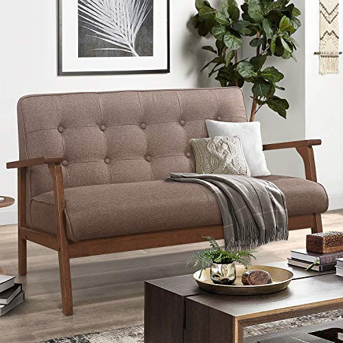 "Mid-Century Wooden Loveseat Sofa Modern, Retro Armrest Loveseat Couch Upholstered 2-Seat, Lounge Accent Chair for Living Room/Outdoor, 42""W (Brown)"