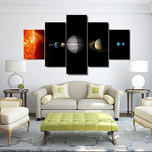 FJNS Sistema Solar Universo Estrellas Planetas Pintura 5 Panel Lienzo Arte de la Pared Lienzos HD Cuadros en Lienzo Arte Sala de Estar Decoración del hogar Enmarcado de Madera,A,20×35×220×45×220×55×1