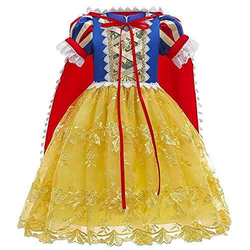 FYMNSI Nias Princesa Nieve Traje Blanco Disfraces Hadas Disfrazarse Vestido de Cosplay con Cabo Amarillo 03 4-5 Aos