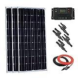 Giosolar Kit de Panel Solar monocristalino de 300 W 12 V con Pantalla LCD DE 30 A PWM Controlador de Carga + Cable Solar + Conectores MC4 de Ramas en Y