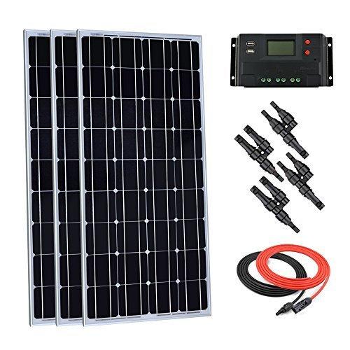 Giosolar 300Watt 12Volt Monokristallines Solar Panel Kit netzferne Set mit 30A PWM LCD-Display Laderegler + Solar Kabel + Y AST MC4-Verbindungsstücken
