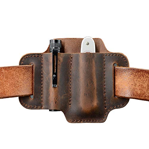 EDC Leather Knife Belt Sheath Tool Pouch, Small Tools Organizer, Fit Most 3.5' -4' Victorinox Knives, Fit 0.6' Wide Flashlights, EDC Holster, EDC Gear Carrier, Premium Leather. Chestnut.
