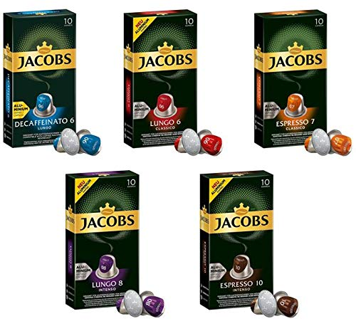 Jacobs Espresso Capsules Single Cup Aluminum Coffee Pods Compatible with Nespresso Original Machine, 50 Capsules Variety Pack