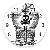 GAVA Dormitorio relojes de pared barco pirata negro blanco sala de estar reloj pared relojes redondos decoración hogar dormitorio cocina decoración relojes