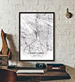 ZWXDMY Leinwand Bild,United States Portland City Map