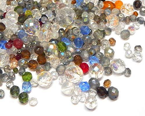 Preciosa - Cuentas de cristal Boehmisches de 100 g, redondas, facetadas, mezcla de cristal, cristal checo, multicolor, juego de manualidades para la fabricación de joyas (juego de 13)