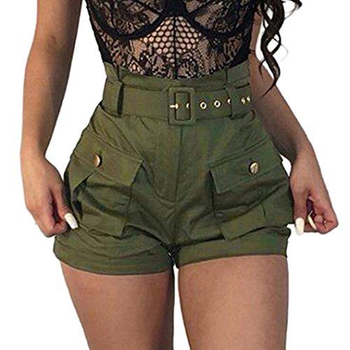 Damen Hosen Sommer Elegant LHWY Frauen Mädchen Shorts Taschen Wide-Bein Grün Kurz Shorts Latzhose Overalls mit Gürtel High Waist Sport...