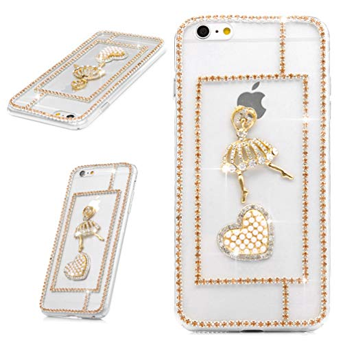 Carcasa para iPhone 6S / 6, diseño de diamantes de imitación en 3D con brillantes y piedras de estrás transparentes, carcasa rígida de policarbonato transparente para iPhone 6S / 6 Ballet Girl