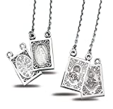 Sterling Silver Double Sided Brown Scapular and Miraculous Medals