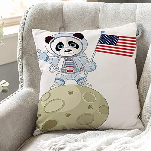 Fundas de Cojines 45x45 cm Funda de Almohada para Decoracion Sofá,Panda, Panda Astronauta en la Luna con la,Poliéster Moderna con Cremallera Invisible Funda de Cojin Decorativa para Cama Hogar, Coche