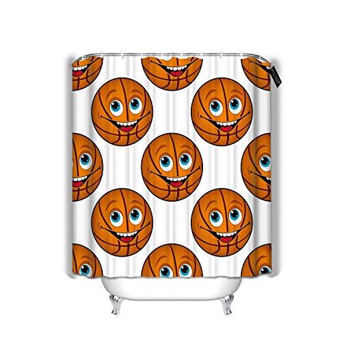 Hotyle Dekor Bad Vorhänge Happy Cartoon Basketball mit blauen Augen und zahnigen Lächeln im Quadrat Badezimmer Dekoration Duschvorhang 72 'X72'