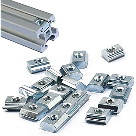 3DINNOVATIONS 2020 Series Sliding T Nuts Metric M3 Thread Slide in Hammer Head T-Nut for Standard 6mm T-Slot Aluminum Extrusion Profile (Qty: 25 pcs)