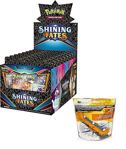KWL Pokémon TCG Shining Fates Mad Party Pin Collection - Juego de 8 pines en inglés + Geomag Mechanics Compass
