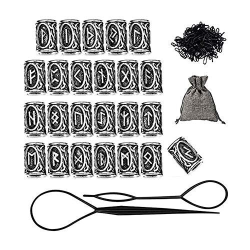 Wuudi Runes Beads Perlen,Bartperle Wikinger,24 Stück Bartperle DIY Haar Runen Zubehör Set für Armbänder und Halsketten