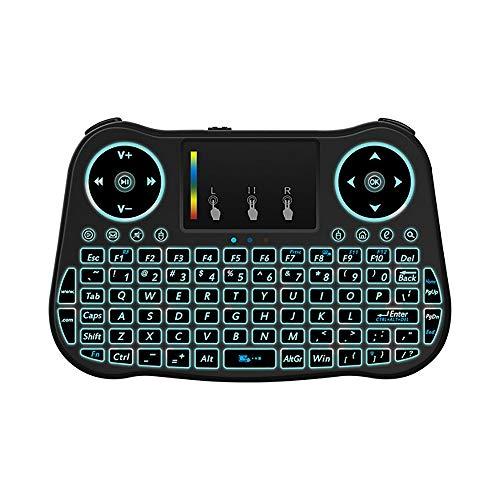 CCFCF Retroilluminata Mini Tastiera Touchpad Mouse, Tastiera I9 Mini Wireless con Touchpad e Tasti multimediali per Android TV Box Smart TV HTPC PS3 Smart Phone Tablet Mac OS Linux di Windows,Nero