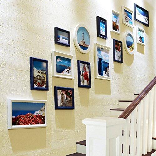 Cadre décoratif Ensemble de mur de cadre de photo d'escaliers créatifs de 15, mur de photo de cadre de combinaison de mur de cadre en bois solide de couloir (Couleur : B)