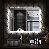 STARLEAD Miroir de Salle de Bain à LED 60 x 80 cm - Grand Miroir de Salle de Bain éclairé - Miroir Mural Intelligent avec Haut-Parleur Bluetooth Tactile - Bouton à intensité Variable