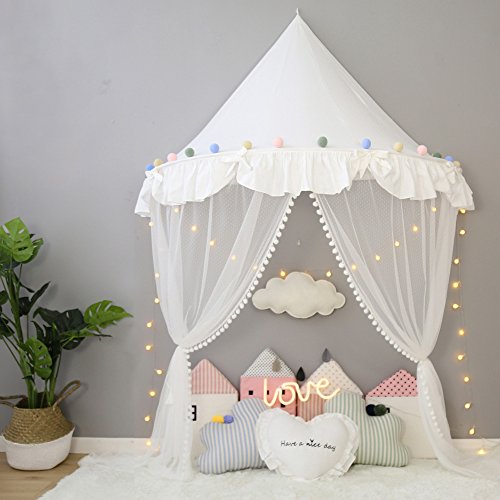 Nordic Ideas Moustiquaire Ciel de Lit Bebe Blanc Baldaquin Filles Princesse Tente Jeux Enfant Rideaux Ciel de Lit Deco Chambre Cadeaux WFT