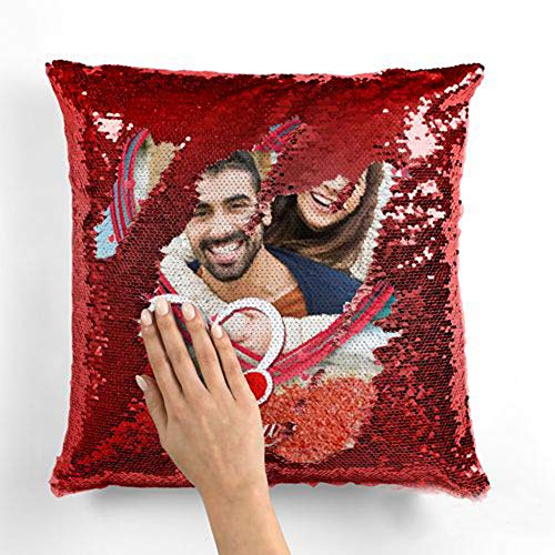 MUKESH HANDICRAFTS Personalized/Personalise Photo Magical/Magic/Red Magic Photo Cushion/Pillow |Gifting Cushions for All Occasions| with 1 Photo Size 16x16 Inches (Golden, Standard Size)