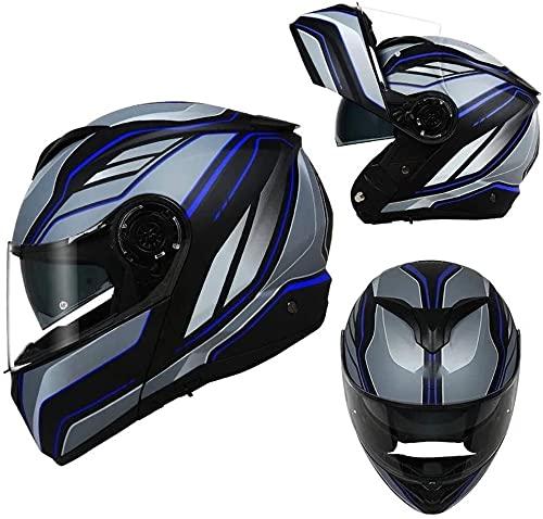 LLDKA Casco Plegable, Casco Modular, máscara Anti-Niebla con Dos Lentes, Compatible con Auriculares Bluetooth Casco de Carreras Plegable (Color : J, Size : L)