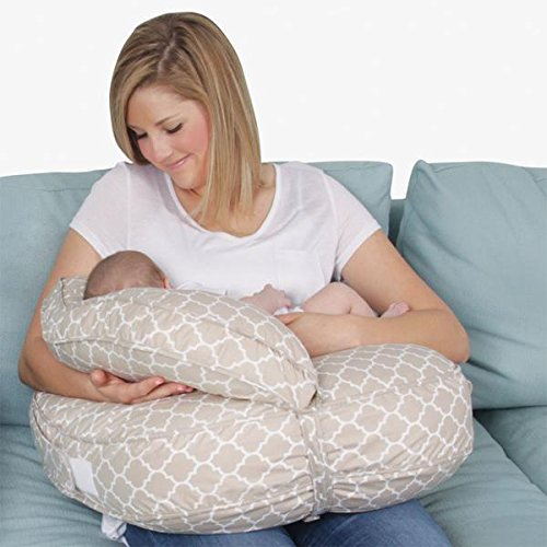 Leachco SnuggaHug Contoured 4-in-1 Nursing Pillow – w/Support Back and Adjustable Boost Pillow, Moroccan Sand