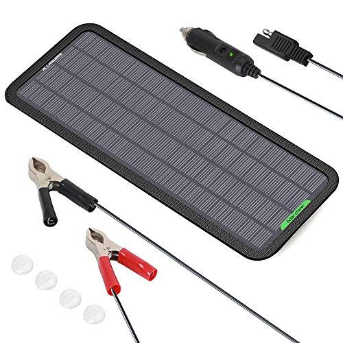 「2020年7月バージョンアップ」ソーラーバッテリーチャージャー ALLPOWERS ソーラーバッテリー充電器 5W 12V 18V 単結晶ソーラーパネル 自動車 バイク トラクター ボートのバッテリーへの補充電 メンテナンス 薄型軽量 太陽光エコ発電