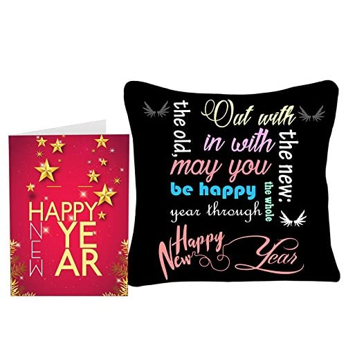 Sky Trends New Year Gifts and Merry 2018 12x12-inch White Satin Cushion Cover with Printed Greeting Card