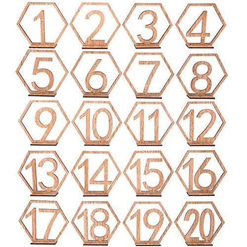 1-20 Números Mesa Madera Color Madera Números Mesa Boda Hueca Números Mesa...